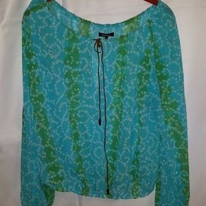 Daisy Fuentes Sheer Peasant Blouse with Shimmer